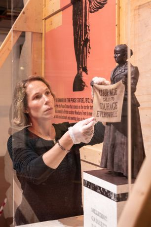 Maquette of Millicent Fawcett statue by artist Gillian Wearing