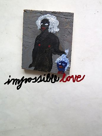 Adam Christensen Impossible Love, 2015. Acrylic on wood. 8 x 10 cm. Courtesy the artist