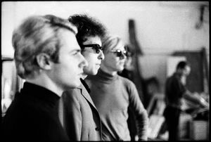 'Bob Dylan with Andy Warhol and Gerard Malanga', The Factory, New York, 1965. © Nat Finkelstein Estate