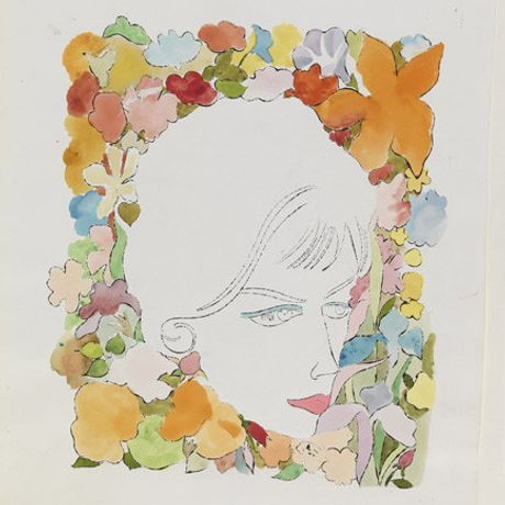 Andy Warhol, Head with Flowers, ink and dye on paper, 1958 © 2014 The Andy Warhol Foundation for the Visual Arts, Inc. / Artists Rights Society (ARS), New York and DACS, London.