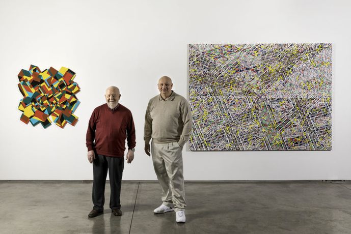 Bernard Cohen and Nathan Cohen at Flowers Gallery | Portrait by Antonio Parente