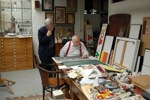 Sir Peter Blake with art historian Marco Livingstone