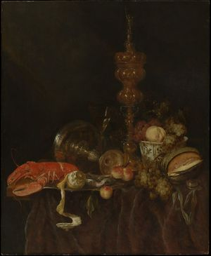 Still Life with Lobster and Fruit,probably early 1650s Abraham van Beyeren