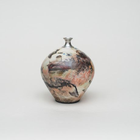 Saggarfired Silver Top Porcelain Vessel by Alison West