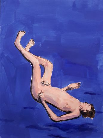 falling Nudist, Gouache on paper, 2016