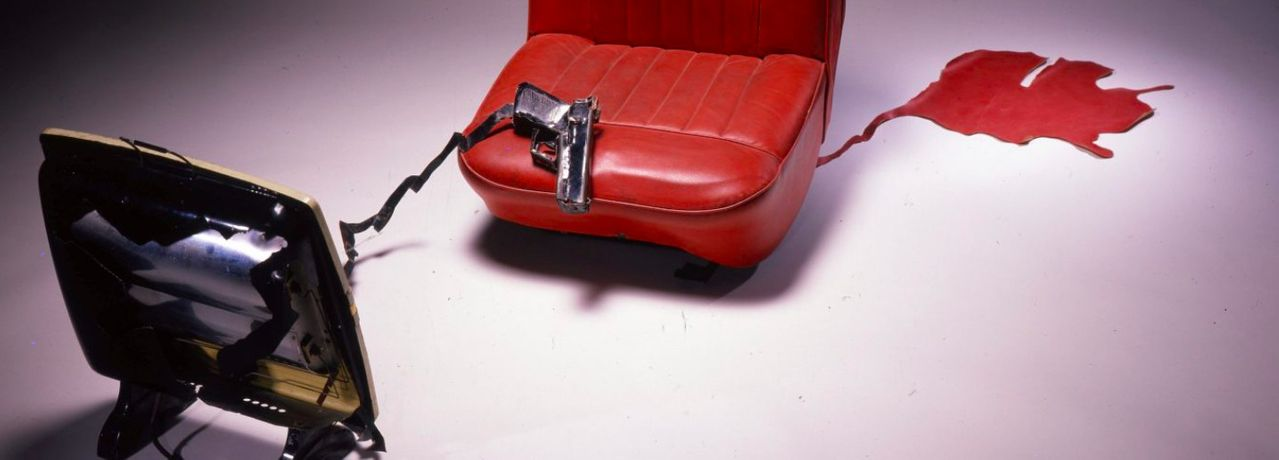Bill Woodrow, Electric Fire, Car Seat and Incident, 1981, mixed media @ the artist (Detail)