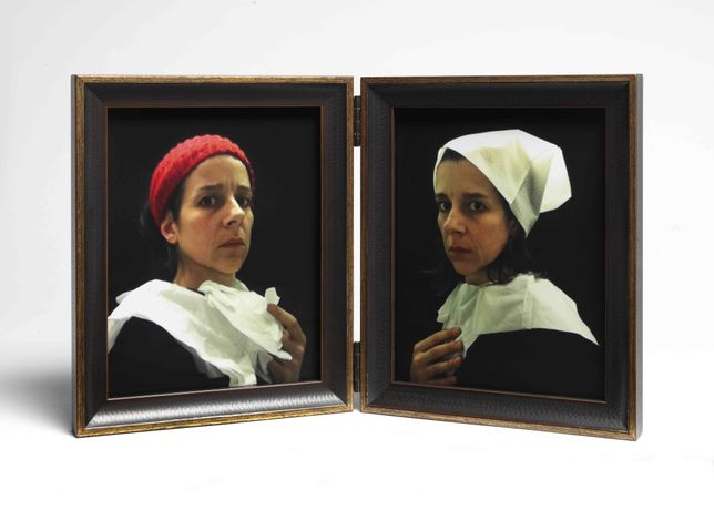 Nina Katchadourian, Lavatory Portraits in the Flemish Style #20 and #21, 2015. c-prints mounted in hinged frames.