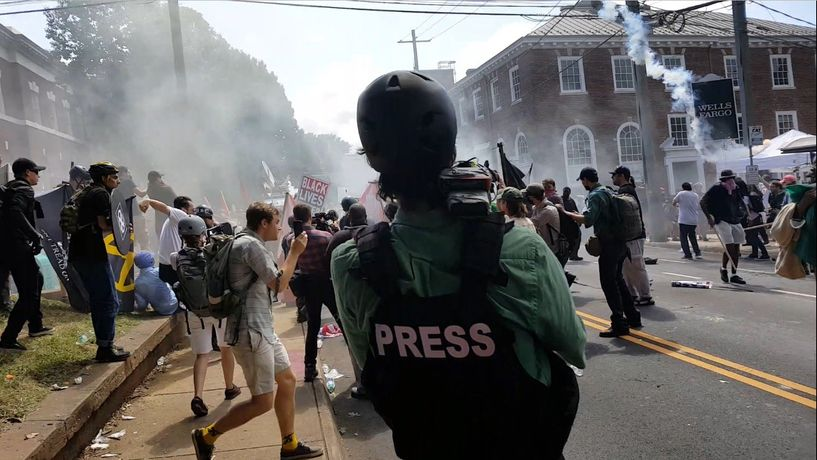 Christopher Schiano, filming the riots in Charlottesville