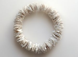Jane Ponsford - Collect (Chalk Circle). Handmade cotton pulp paper & chalk, thread, wire