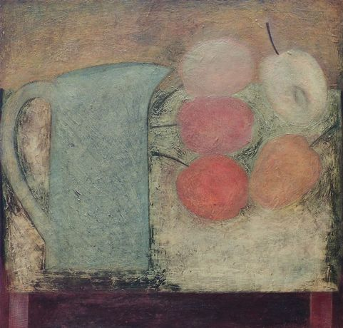 Blue Jug with Apples