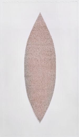 Meg Hitchcock, Quan Yin, 2018, words typed on margins of the Bible, 42 x 23.625 inches (unframed), 47.5 x 29.375 inches (framed), $9500. (framed)