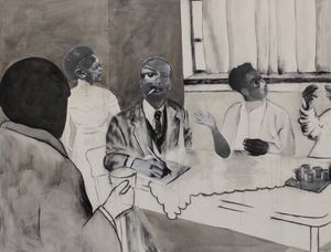 Neo Matloga, Bolela re kwe, 2018, collage, charcoal & ink on canvas, 200 x 260 cm