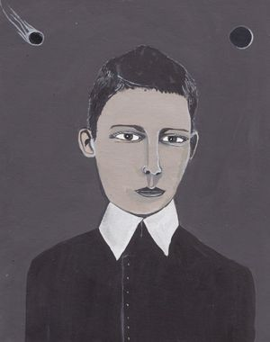 Boy with an Eclipse - Acrylic on paper, 2014 - 29cm x 25cm