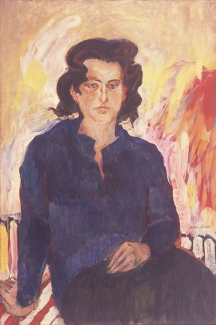 Jane Wilson, Portrait of Jane Freilicher, 1957. Oil on canvas, 36 x 24 in. Collection of John Gruen and Julia Gruen, New York. © Estate of Jane Wilson. Courtesy DC Moore Gallery, New York