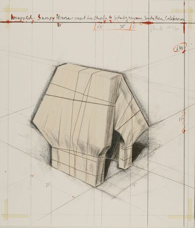 Wrapped Snoopy House - Christo, collage, signed edition of 250
