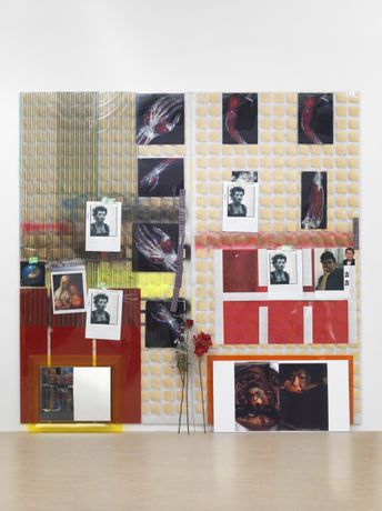 Isa Genzken, Untitled, 2012 Mirror, plastic, colour prints, tape, paint, ribbon, thread, artificial flowers, spraypaint, photographs, frames, perspex 286 x 288.5 x 21 cm