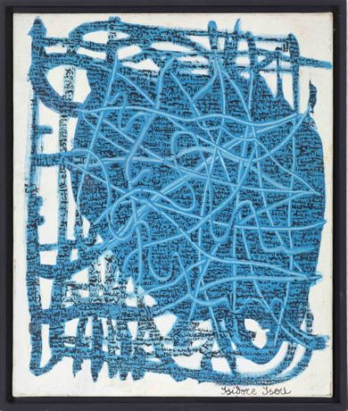 Isidore Isou Blue Network, oil on canvas, 1961