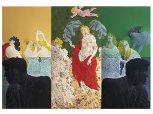 Cesare Tacchi, I guardiani della primavera Pop, 2006, paint on printed fabric and relief (triptych), 210 x 300 cm / 82.7 x 118.1 in, Courtesy Tornabuoni Art