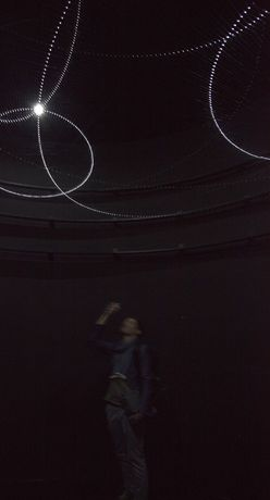 Ivana Franke: Disorientation Station (Black), 2016. Circular dark room, wooden construction, monofilament, LED lights, control unit. Diameter 440 x 400 cm, Courtesy Shanghai Biennale, Foto: Ivana Franke Studio