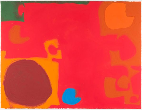 Patrick Heron Yellows and Browns Interlocking with Soft Cadmium (Blue Flash), 1968 Gouache 58.4 x 77.5 cm