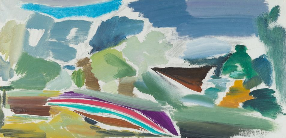 Ivon Hitchens Careened Boat Study, 1972 Oil on canvas 51 x 104 cm