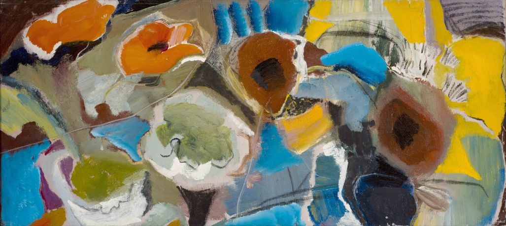 Ivon Hitchens, Mixed Poppies circa 1960, oil on canvas, estate stamp verso, 46.5 x 105.5cm. Copyright, Jonathan Clark Fine Art