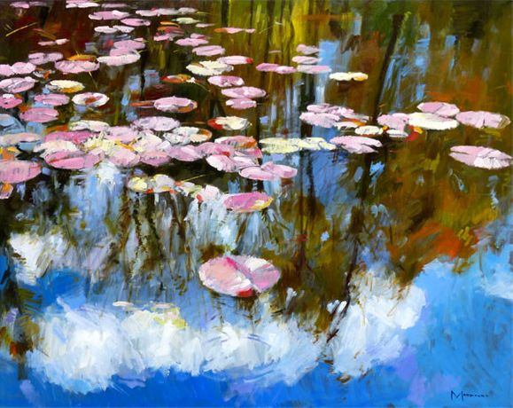 Jack Morrocco Reflections in the Lily Pond 40 x 50 inches Oil on canvas