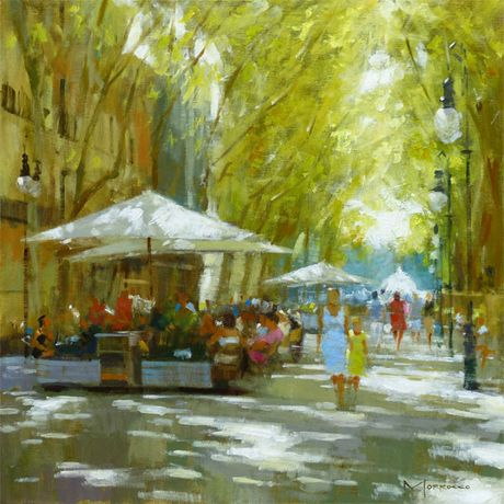 Jack Morrocco Dappled Light Passeig des Born, Palma 20 x 20 inches Oil on canvas