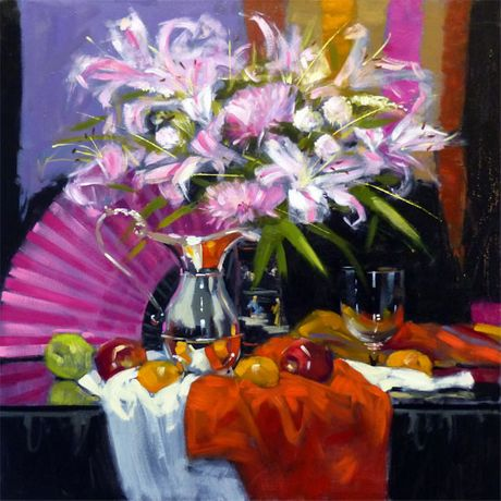 Jack Morrocco Pink Lilies and Silver Ewer 28 x 28 inches Oil on canvas