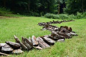 Jackdaw Line by Richard Long, in the Landscape Garden at Hestercombe. Image: Jon England