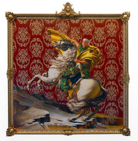 Kehinde Wiley (American, born 1977). Napoleon Leading the Army over the Alps, 2005. Oil on canvas, 108 x 108 in. (274.3 x 274.3 cm). Brooklyn Museum, Partial gift of Suzi and Andrew Booke Cohen in memory of Ilene R. Booke and in honor of Arnold L. Lehman, Mary Smith Dorward Fund, and William K. Jacobs, Jr. Fund, 2015.53. © Kehinde Wiley. (Photo: Brooklyn Museum)