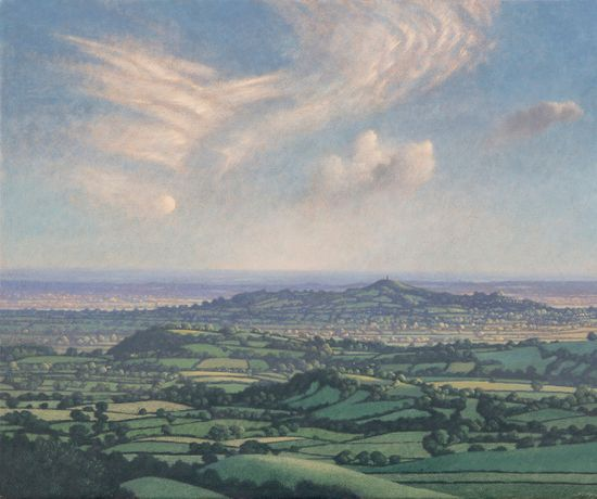 Half Moon and Cirrus Clouds over Glastonbury Tor, egg tempera on gesso coated wood panel, 19 x 23ins (48 x 59cm)