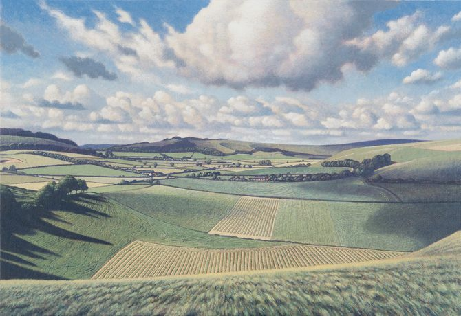 Cloud Suck, Mere, Wiltshire, egg tempera on gesso coated wood panel, 19 x 28ins (48 x 71cm)