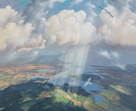 Convergence over Poole Harbour, egg tempera on gesso coated wood panel, 32 x 40ins (81x 101.5cm), by James Lynch