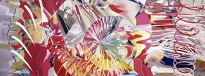 James Rosenquist, Joystick, 2002, oil on canvas, with acrylic rod, rope, and mirrored Plexiglas, 205 x 552 inches, 520.7 x 1402.1 cm. © 2019 Estate of James Rosenquist/Licensed by VAGA at Artists Rights Society (ARS), NY.