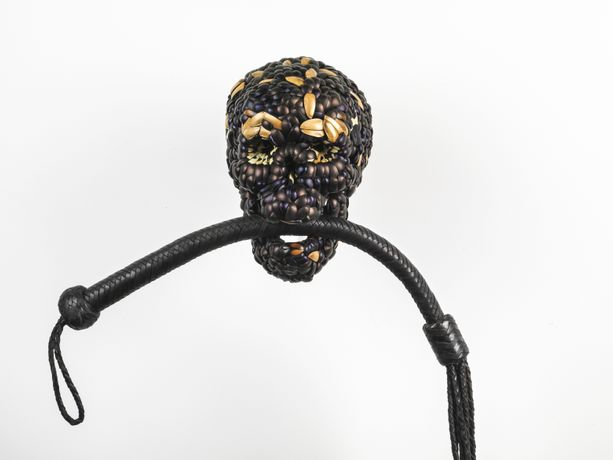 Jan Fabre, Skull with Whip, 2013, mixture of jewel beetle wing-cases, polymers, leather, 90 x 49 x 22 cm DETAIL. Photo Claudio Abate, courtesy the artist and Ronchini Gallery