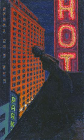 Study for Hotel Girl, 2006. Oil stick on blue paper. 25 x 15.5 inches