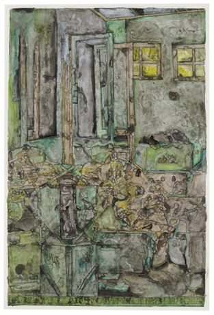 Jasper Johns, Farley Breaks Down, 2014. Ink and water-soluble encaustic on plastic. 42 1/8 x 29 1/8 inches; 107 x 74 cm.