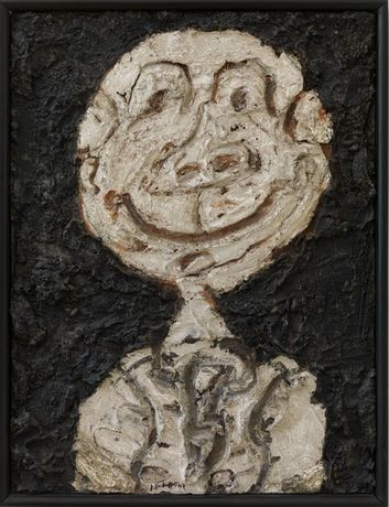 Jean Dubuffet: Personnage hilare (Portrait de Francis Ponge), 1947, oil paint on plaster on cardboard, 60.5 x 45.5 cm, collection Stedelijk Museum Amsterdam, gift of the artist - See more at: http://www.stedelijk.nl/en/press-releases/jean-dubuffet-the-deep-end#sthash.guCTu124.dpuf