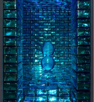 Grotta Azzurra, 2017 Blue & mirrored indian glass bricks. 180 × 201 × 205 cm / 70 7/8 × 79 1/8 × 80 11/16 in © Othoniel / ADAGP Paris, 2018. Photo : Claire Dorn