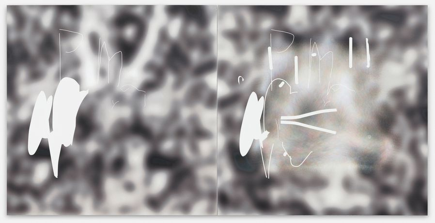 Jeff Elrod. not yet titled      2015     inkjet and acrylic on canvas     diptych: each panel, 176,5 x 176 x 3,8 cm
