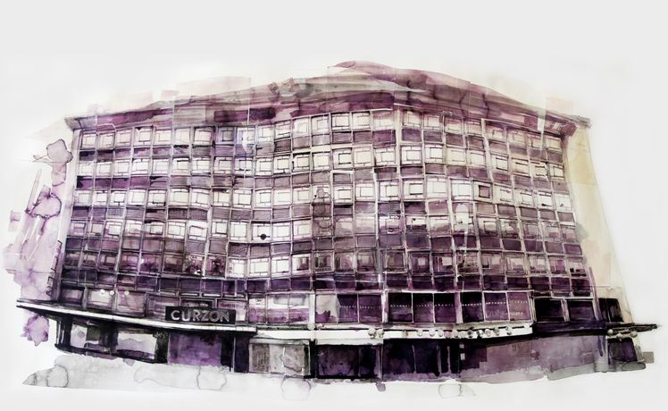 'Curzon Soho', indian ink and transferred image on paper, 2016
