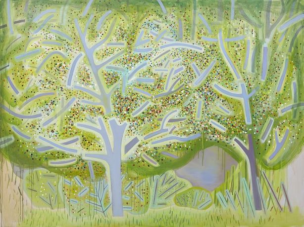 Jennifer Coates, Spring Trees, 2018, acrylic on canvas, 72 x 96 inches