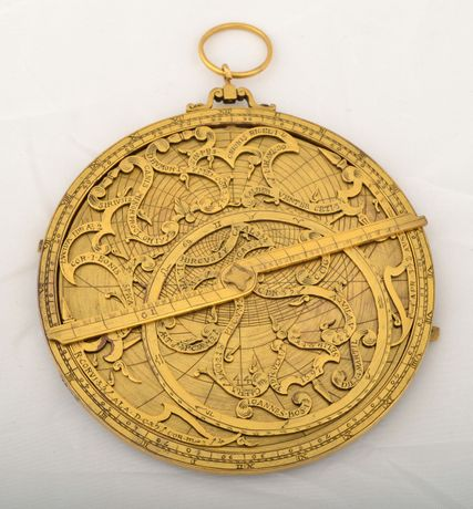 Astrolabe, gilt copper, purportedly by Johannes Bos of Rome, dated 1597, but now identified as a modern fake, c.1920, 100mm diameter, Whipple Museum of the History of Science