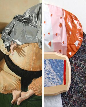 LEFT – Jens Heller, Ach Europa (II): Europa im Spielzimmer (Detail), Oil/Cvs., 170 x 200 cm, 2014     RIGHT – Megan Stroech, Ice Cream Collar (Detail), carpet, pool float, wood, collage, latex paint, 54 x 70 CM, 2014