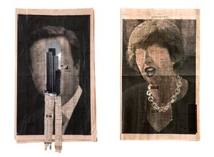 LEFT: kennardphillipps, Study For A Head V, 2012, pigment ink on FT newspaper, 58cm x 35cm; RIGHT: Profit, 2017, pigment ink and charcoal on FT newspaper, 58cm x 35cm