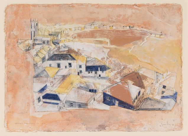 Shining Morning, St Ives, 2017 Watercolour with jesmonite and acrylic on handmade cotton paper 46 x 61 cm