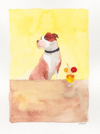 Dog with Mai Tai, watercolour on paper
