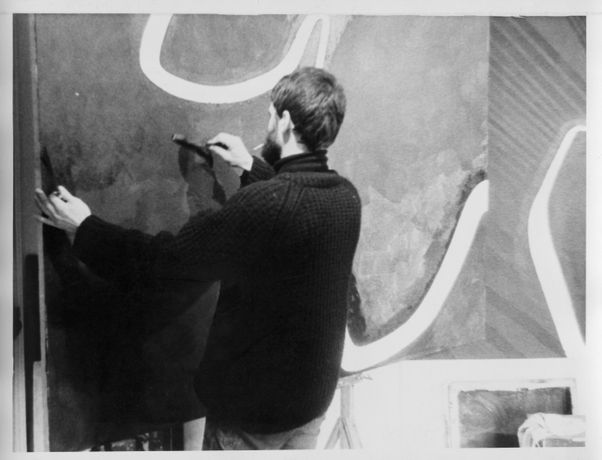 Jesse Bruton in his studio (c.1969). Photo by Peter Cox. Image courtesy of the artist.