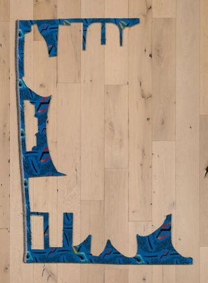 Jessica Vaughn, Boomer Blue No.340 #2, 2017, fabric scraps procured from manufacturer (09/2015-11/2016) on plexi, 62 x 42 x 1/2 in.